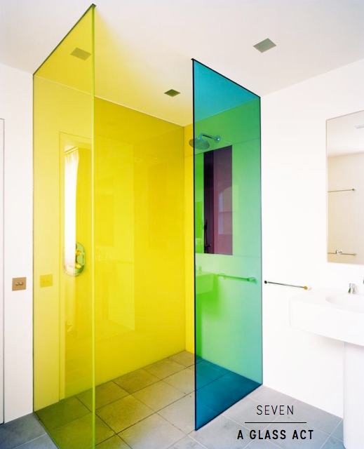 Seven amazingly colourful shower room ideas bright for Coloured glass panels